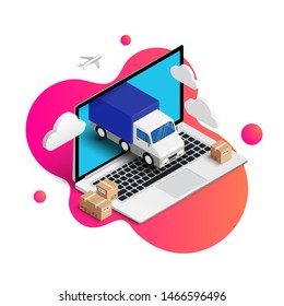 Online shopping vector illustration concept. Online internet store Isometric web banner design template with smartphone integrated ATM, shopping cart, button, credit card, receipt on fluid background