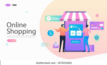 Online Shopping Vector Illustration Concept, Suitable for web landing page, ui, mobile app, editorial design, flyer, banner, and other related occasion
