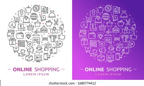 Online shopping. Vector illustration of shopping, E-commerce icons with payment, mobile shop, wallet, sale, gift box and tags symbols. Background for m-commerce, delivery, websites and apps, marketing