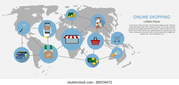 Online Shopping Vector Illustration. Flat Computing Background. EPS10