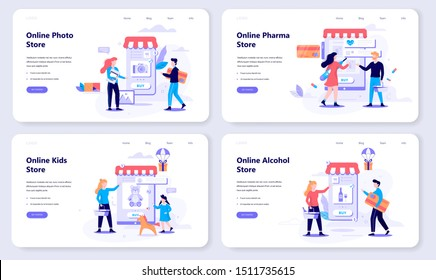 Online shopping web banner concept set. E-commerce, customer on the sale. App on mobile phone. Photo, alcohol and pharmacy store. Isolated vector illustration in flat style