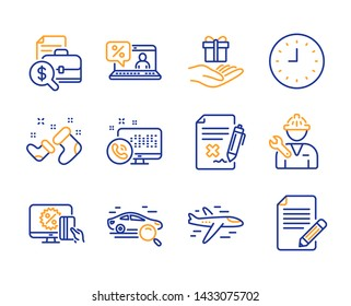 Online shopping, Web call and Repairman icons simple set. Search car, Clock and Santa boots signs. Reject file, Accounting report and Online loan symbols. Line online shopping icon. Colorful set
