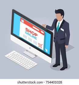 Online shopping website illustrated on monitor of computer on gray background. Man in black business suit showing internet page of interactive store. Vector illustration of e-commerce flat design.