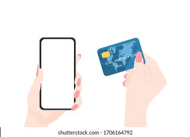 Online shopping. woman hands holding empty screen of smartphone and credit card. vector illustration.