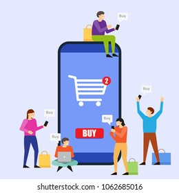 Online shopping. Young people using mobile smartphone for purchasing. Men and women standing near big smartphone. Vector illustration