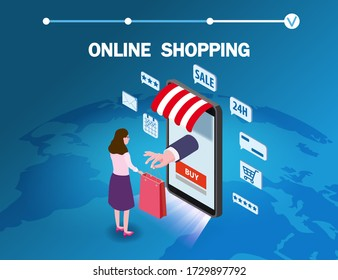 Online shopping young women character makes a purchase smartphone internet shop. Isometric supermarket with icons, awning, palnet Earth background. Vector concept and Digital marketing landing page