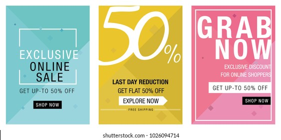 Online, social media sale banners template collection. Vector illustrations for website. Website banners, online and offline posters, emailer and newsletter designs, 50% off and last day sale