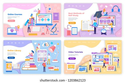 Online source and library, self study and video tutorial vector. People with smartphone laptop getting education, graduation hat and resources in web