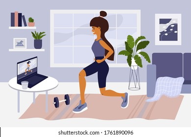 Online sport exercises or classes. Young woman watching training video on laptop, doing workout. Healthy lifestyle. Physical activities at apartment. Stay home, self isolation. Gym vector illustration