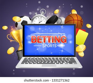 Online sports betting vector poster banner design template. Laptop and soccer basketball baseball balls, stopwatch, hockey puck, yellow and red referee cards, trophy award cup and dollar coins.