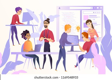Online Startup Development Cartoon Vector Concept with Young Web Developers, Programmers or Coders Team Working Together at Office, Discussing Ideas, Correcting and Optimizing Code, Developing Website