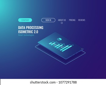 Online statistic and data analysis service, tablet with chant on screen, data prcessing neon dark isometric vector