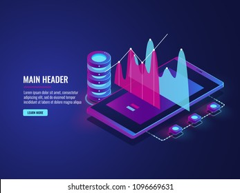 Online statistics and data Analytics, cloud storage, mobile phone applicetion for work, trading, server room isometric vector dark ultra violet neon