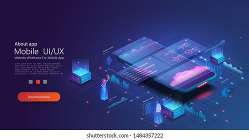 Online statistics and data Analytics. Digital money market, investment, finance and trading. Perfect for web design, banner and presentation. Data analysis and visualization isometric landing page.