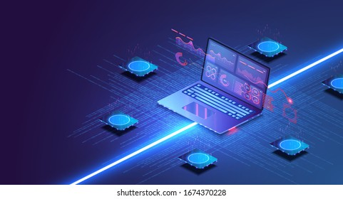 Online statistics and data Analytics. Digital money market, investment, finance and trading. Perfect for web design, banner and presentation.Isometric.Financial strategy and trend analysis on a laptop