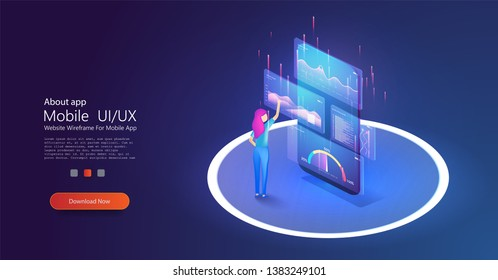 Online statistics and data Analytics, mobile phone applicetion for work. Isometric girl  working on digital marketing strategy landing page. Vector illustration