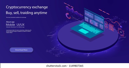 Online statistics and data Analytics.Digital money market, investment, finance and trading. Perfect for web design, banner and presentation. Isometric vector illustration.
