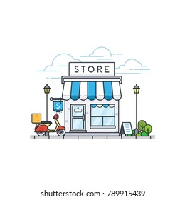 Online store building. Store front and scooter delivery. Street local retail shop building. Vector illustration