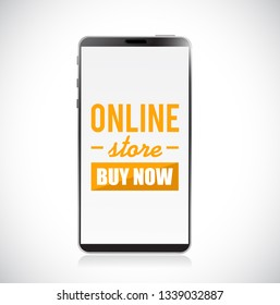 online store buy now sign on a mobile phone concept illustration over a white background