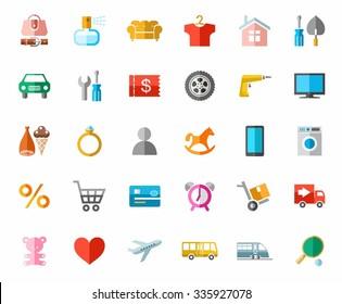 Online store, color pictures, icons. Color images of categories of goods online store. Icons, vector clip art.