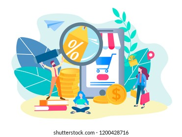 Online store concept. Online shopping. Mobile app for internet shopping. Vector illustration for web design, advertising posters, presentations, blogging in social marketing.