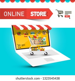 Online Store Design with Cart and Items Icons on Notebook Screen. E-Commerce Symbol. Vector E-shop Concept.