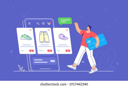 Online store e-commerce mobile app usage by consumer. Flat line vector illustration of young man holding blue credit card going to the online e-store web page with goods placed on smartphone screen