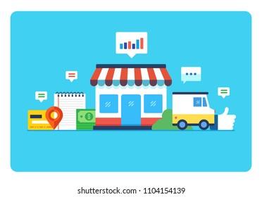 Online store, Eshop, Internet selling, Online marketing. Flat design modern vector illustration concept.