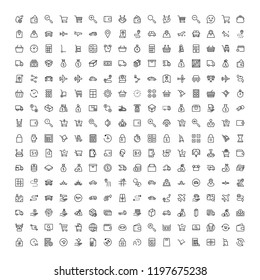 Online store flat icon set. Single high quality outline symbol of info for web design or mobile app. Thin line signs for design logo, visit card, etc. Outline logo of graphic online store