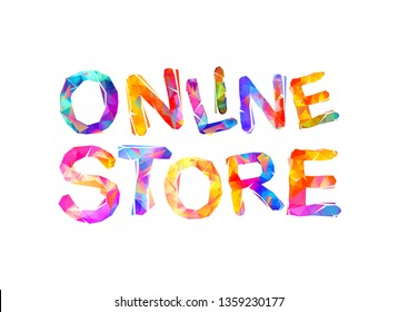 Online store. Inscription of vector triangular letters