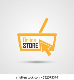 Online Store Logo. Basket. Vector Illustration