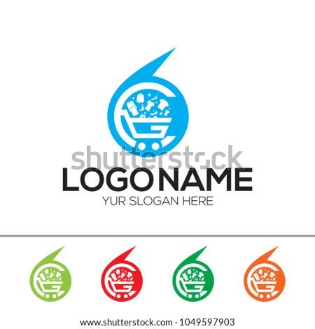 Online Store Logo Design Template Esp Stock Vector Royalty Free