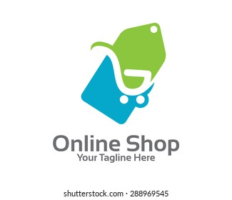 On-line store logo design vector. Shopping cart and price tag logo design concept. Price tag logo template.