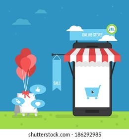online store mobile flat design