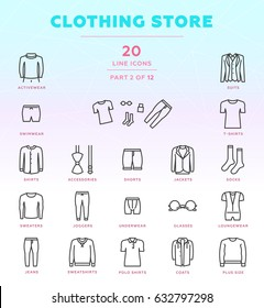 Online store outline icon set of 20 modern and stylish icons. Part 2 - men's clothing store. Dark line version. EPS 10. Pixel perfect.
