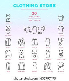 Online store outline icon set of 20 modern and stylish icons. Part 1 - women's clothing store. Dark line version. EPS 10. Pixel perfect.