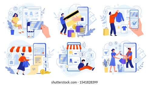 Online store payment. Bank credit cards, secure online payments and financial bill. Smartphone wallets, digital pay technology and modern retail flat vector illustration set. E-paying