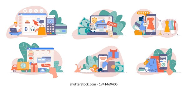 Online store payment. Mobile shopping from smartphone app and pay online with credit card. Payment concept for online business flat vector illustration. Buy from laptop on web shop concept