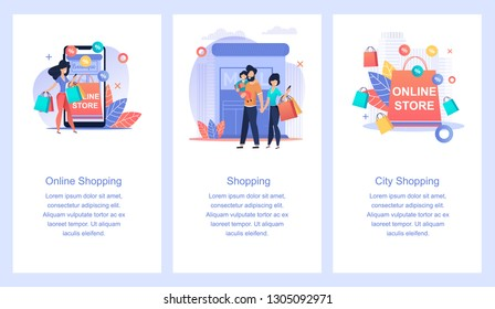 Online Store. Online Shopping. City Shopping. Family Buys Products through Mobile. Girl Acquires Things. Acquisition Things through Internet. Easy and Convenient and Quickly without Leaving Home.
