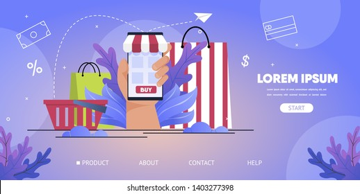 Online Store Shopping, Consumer Loan Service, Sale and Discounts Monitoring Mobile App Carton Vector Web Banner, Landing Page. Shopping Bag, Packet and Basket, Hand Holding Smartphone Illustration