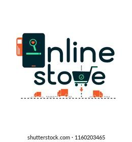 online store shopping e-commerce transport concept. illustration vector.