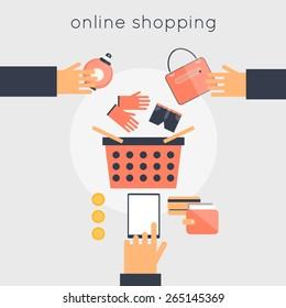 On-line store shopping. Internet shopping. Vector illustration flat design.