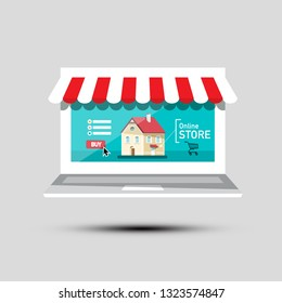 Online Store Symbol. Virtual Shop Vector Icon. E-shop Concept with Building and Shopping Cart on Screen.