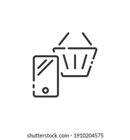 Online store thin line icon. Mobile payment. Smartphone and shopping basket. Outline commerce vector illustration