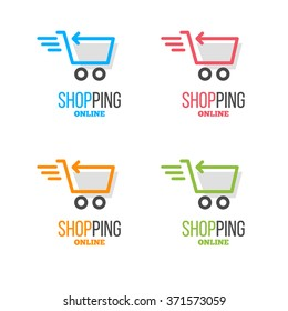 Online store vector logo with food cart picture
