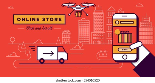 Online Store Website Banner in Flat Linear Vector Style