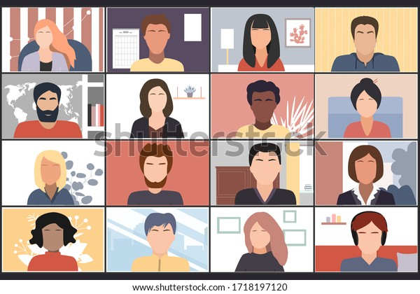 Online students lesson or company workers meeting. Coronavirus quarantine distance education concept. Stay at home vector illustration. Studying pupils or students. Laptop screenshot.