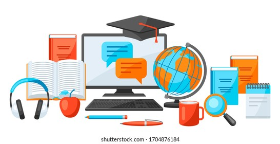 Online studying at home concept. Distance education. Modern technologies using computer and internet.