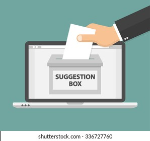 Online suggestion concept. Hand putting blank paper in the suggestion box. Flat style