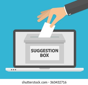 Online suggestion concept. Hand putting blank paper in the suggestion box. Flat design